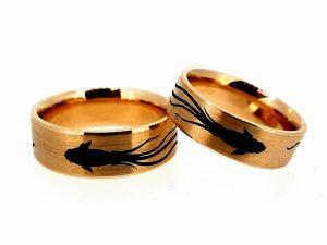 Vestuviniai žiedai Nr.273 (iš rožinio arba kitos spalvos aukso, su piešiniu)