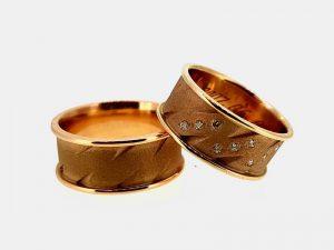 Vestuviniai žiedai Nr.274 (platūs, iš raudono, geltono arba balto aukso)