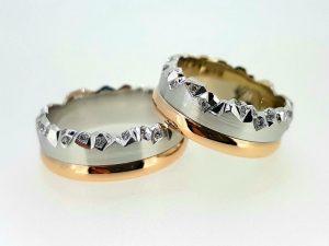 Vestuviniai žiedai Nr.276 (iš raudono ir balto aukso, puošti briliantais)