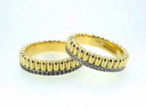 Vestuviniai žiedai Nr.277 (su brangakmeniais, iš dviejų spalvų aukso)