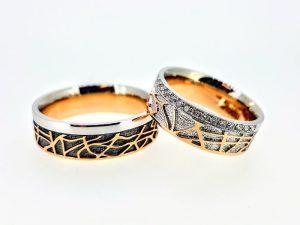 Vestuviniai žiedai Nr.279 (iš dviejų spalvų aukso, mot.-su briliantais)