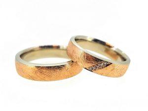 Vestuviniai žiedai Nr.280 (iš dviejų spalvų aukso, mot.-su briliantais)