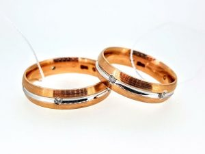 Vestuviniai žiedai Nr.283 (iš dviejų spalvų aukso, su briliantais)