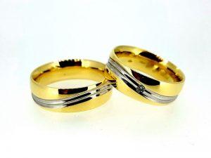 Vestuviniai žiedai Nr.286 ( platūs, iš dviejų spalvų aukso)