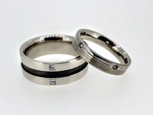 Vestuviniai žiedai Nr.289 (iš balto ir juodo aukso, su deimantais)
