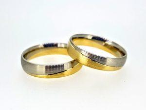 Vestuviniai žiedai Nr.292 (matinti, iš dviejų spalvų aukso)