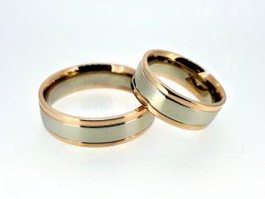 Vestuviniai žiedai Nr.294 ( platūs, iš dviejų spalvų aukso )