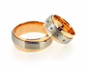 Vestuviniai žiedai Nr.303 (iš dviejų spalvų aukso, mot.-su briliantais)