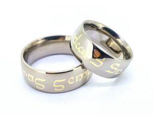 Vestuviniai žiedai Nr.312 (su inkrustuotu užrašu, iš paladinio aukso)