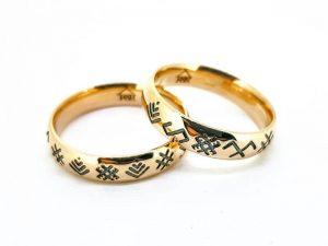 Vestuviniai žiedai Nr.315 (su baltiškais ženklais, iš aukso)
