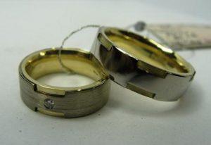 Vestuviniai žiedai Nr.32 (platūs, iš geltono ir balto aukso)