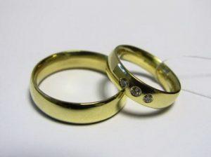 Vestuviniai žiedai Nr.34 (iš geltono aukso, su briliantais arba kt.akmenimis)