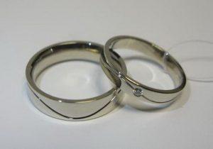 Vestuviniai žiedai Nr.39 (iš balto aukso, su įgilinta linija)