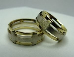 Vestuviniai žiedai Nr.3 ( iš balto ir geltono aukso)