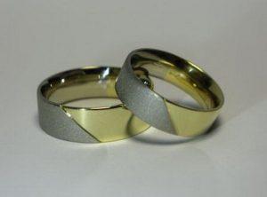 Vestuviniai žiedai Nr.52 (iš geltono ir matinio balto aukso)
