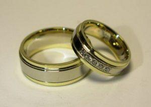 Vestuviniai žiedai Nr.63 (iš balto ir geltono aukso, mot.- su briliantais)