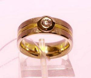 Sužadėtuvių žiedas Nr.65 (iš platinos ir geltono aukso, su briliantu)