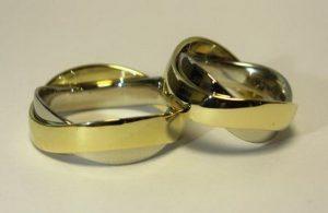 Vestuviniai žiedai Nr.65 (iš balto ir geltono arba balto ir raudono aukso)