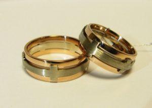 Vestuviniai žiedai Nr.66 (iš raudono ir balto, matinto aukso)