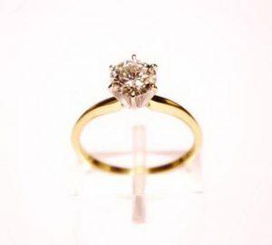 Sužadėtuvių žiedas Nr.69 (iš geltono ir balto aukso, su briliantu)