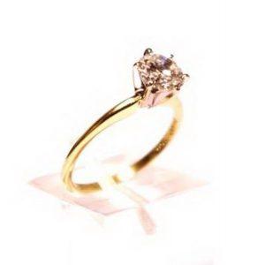 Sužadėtuvių žiedas Nr.70 (siauras, iš geltono, balto arba raudono aukso, su briliantu)