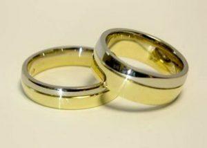 Vestuviniai žiedai Nr.74 (sujungti iš dviejų spalvų aukso, pora-skirtingų pločių)