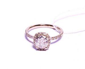 Sužadėtuvių žiedas Nr.77 (iš balto aukso, puoštas brangakmeniais)