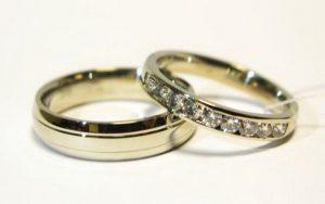 Vestuviniai žiedai Nr.83 (iš geltono aukso, mot.-siauras, su briliantais)