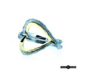 Sužadėtuvių žiedas Nr.88 (modernus, iš balto ir geltono aukso)