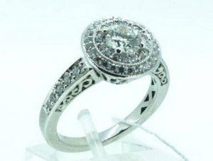 Sužadėtuvių žiedas Nr.89 (iš balto aukso, puoštas brangakmeniais)