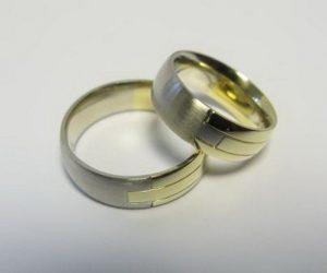 Vestuviniai žiedai Nr.8 (iš balto ir geltono aukso)