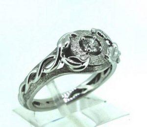 Sužadėtuvių žiedas Nr.93 (iš platinos arba balto aukso, su briliantu)