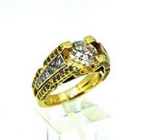 Sužadėtuvių žiedas Nr.98 (iš geltono, raudono arba balto aukso, puoštas baltais ir rusvais briliantais)